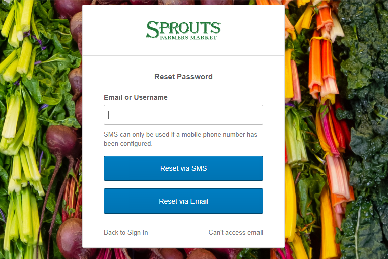 Sprouts Employee - Password Recovery